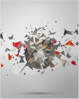 Poster Origami oiseau de papier sur le fond abstrait