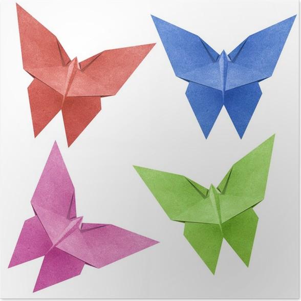 Poster Origami papillon Papercraft de recyclage • Pixers® - Nous ...