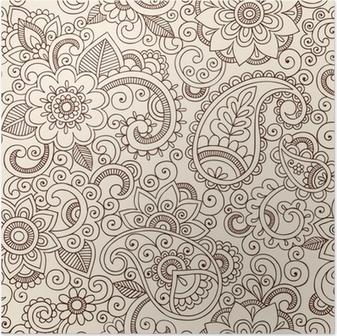 Ornate Henna Paisley Pattern Doodle Vector Design Poster
