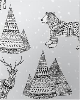 Póster Oso, ciervos patrón de invierno y de montaña dibujado a mano