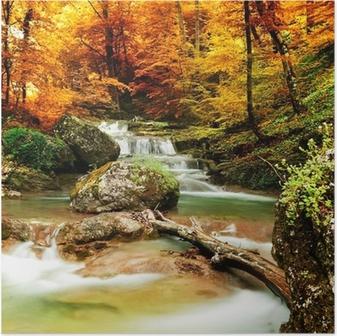 Póster Otoño arroyo bosque con árboles amarillos