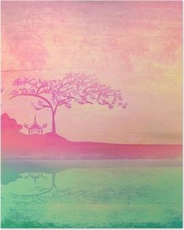 Poster Oud papier met Aziatische landschap