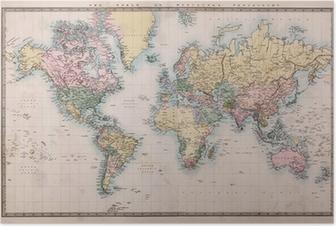 Poster Oude Antieke Kaart van de Wereld op Mercators Projectie