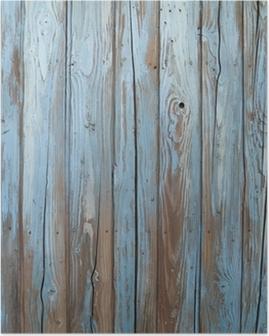 Poster Oude blauwe houten muur