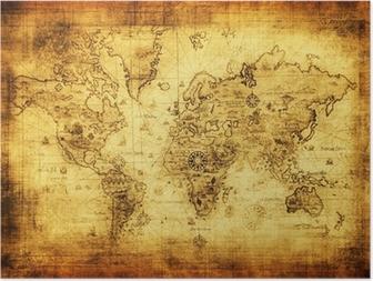 Poster Oude kaart van de wereld