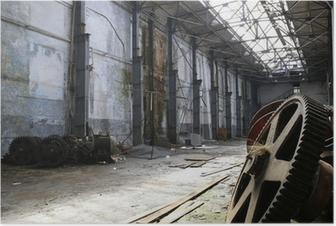 Poster Oude roestige metalen gadgets in een verlaten schip fabriek