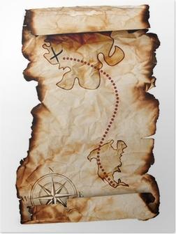 Poster Oude schatkaart