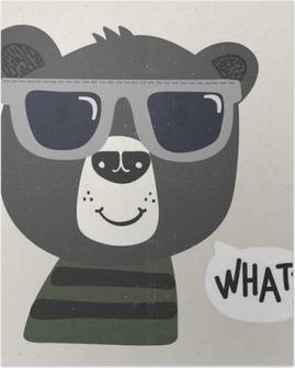 Poster Ours de bande dessinée cool avec des lunettes de soleil