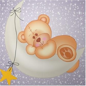 Poster Ours en peluche dormant sur la lune