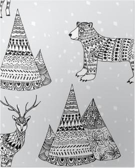 Poster Ours, motif d'hiver cerfs et montagne dessinés à la main
