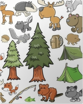 Outdoors Wildlife Camping Vector Design Set Poster