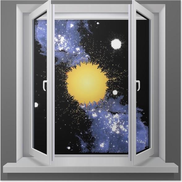 poster ouvert fen tre en plastique avec vue sur le cosmos. Black Bedroom Furniture Sets. Home Design Ideas