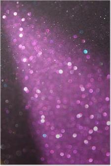 Poster Paars en zilver glitter verlichting. defocused lichten.