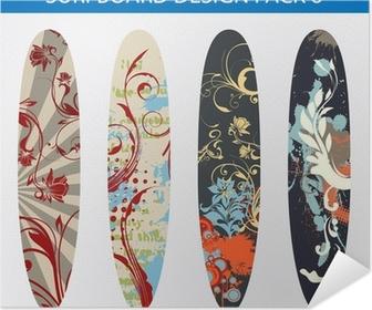 Poster Pack De Vecteur De Quatre Dessins Colores De Planche De Surf Pixers Nous Vivons Pour Changer