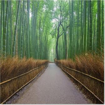 Poster Pad naar bamboebos, Arashiyama, Kyoto, Japan