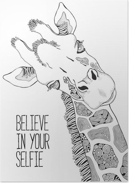 Póster Página de libro para colorear para adultos y niños. jirafa ...