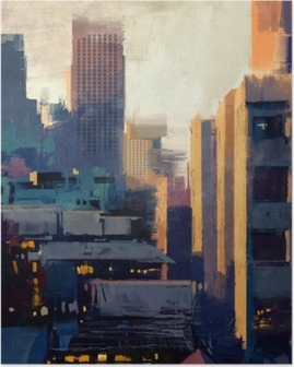 painting of skyscrapers at sunset Poster