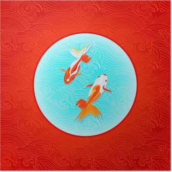 Poster Paire de golfishes plus de drapeau japonais inversé dans les vagues