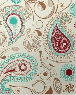 Poster Paisley pattern dans le style rétro
