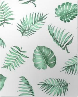 Poster Palm topique laisse sur pattern pour la texture du tissu. Vector illustration.