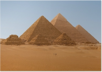 Panaromic view of six Egyptian pyramids in Giza, Egypt Poster