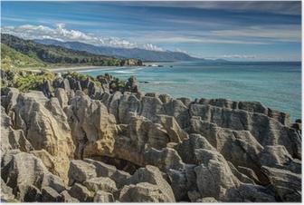 Poster Pancake Rocks, Punakaiki, West Coast, Nieuw-Zeeland