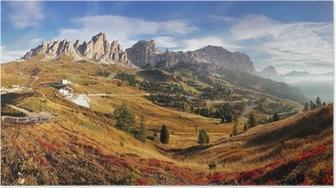 Póster Panorama de la montaña en Italia Alpes Dolomitas - Passo Gardena