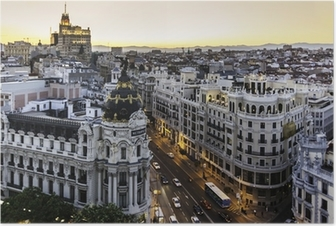 Panoramic view of Gran Via, Madrid, Spain. Poster