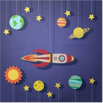 Paper rocket in space Poster