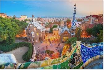 Poster Parc Guell à Barcelone, en Espagne.