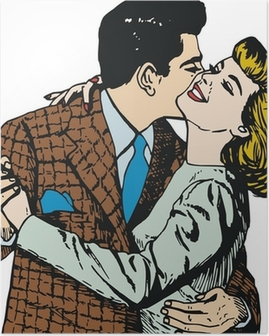 Pareja de enamorados en el dia de San Valentin Poster