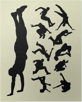 Poster Parkour silhouetten