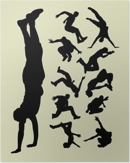 Poster Parkour silhuetter