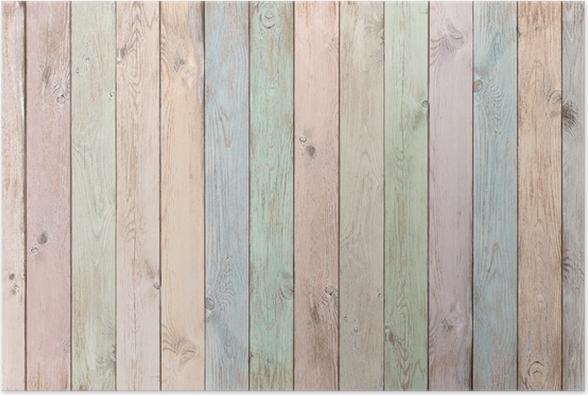 Poster Babykamer Pastel : Poster pastel gekleurde houten planken textuur of achtergrond