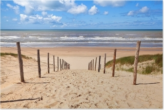 path to sandy beach by North sea Poster