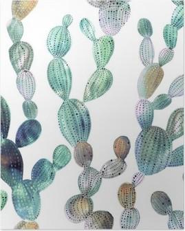 Póster Patrón de cactus en el estilo de la acuarela