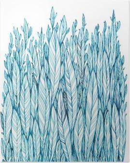 Póster Patrón de color azul hojas, hierba, plumas, dibujo de la tinta de la acuarela