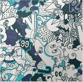 Póster Patrón de colores sin fisuras Graffiti