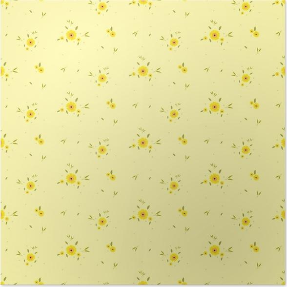 Póster Patrón floral sin fisuras. fondo en pequeñas flores amarillas ...