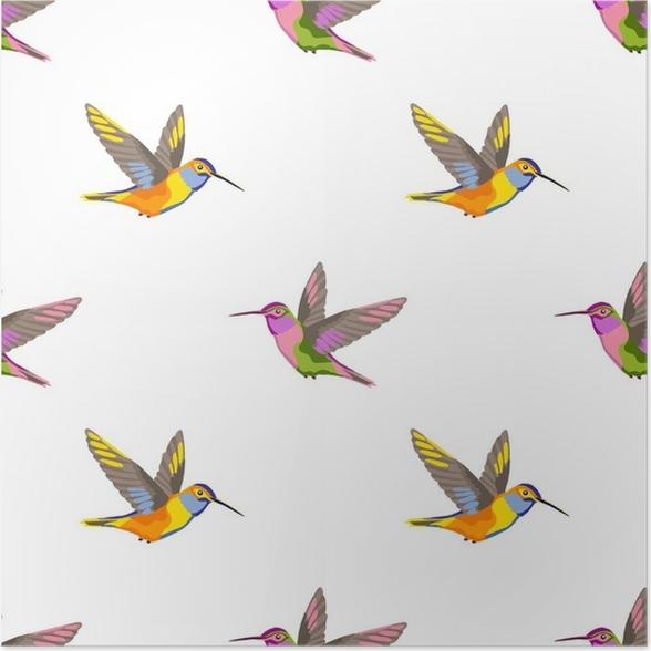 Póster Patrón sin costuras bordado colibrí • Pixers® - Vivimos para ...