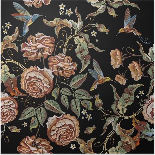 Póster Patrón sin costuras de bordado de rosas. clásicos bordados ...