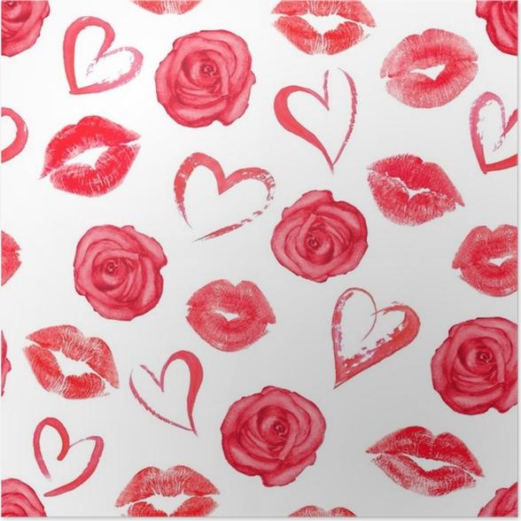 pster patrones sin fisuras con rosas corazones y besos de labios de traza plantas