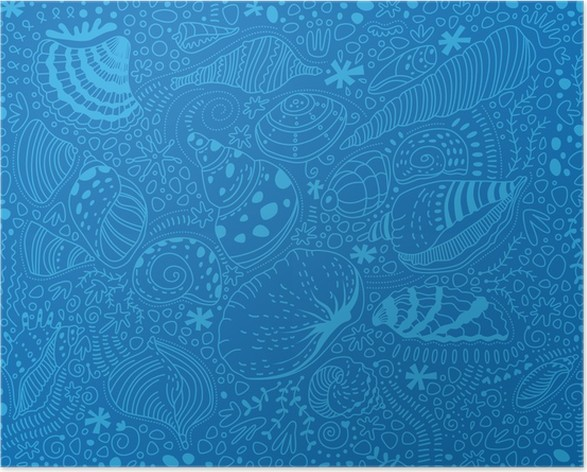 Pattern Light Blue Seashells On A Blue Background Poster O Pixers
