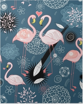 pattern of love flamingos Poster