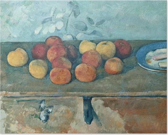 Póster Paul Cézanne - Naturaleza muerta con manzanas y Bisquits - Reproducciones