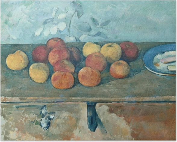 Poster Paul Cézanne - Pommes et biscuits - Reproductions