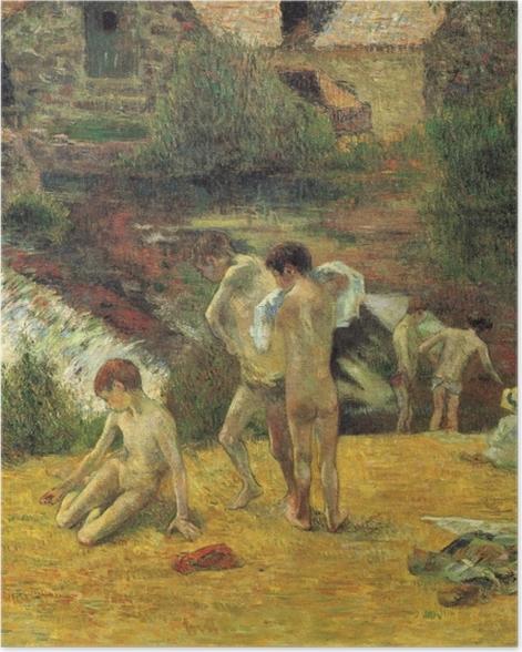 Poster Paul Gauguin - La Baignade au moulin du Bois d'Amour - Reproductions