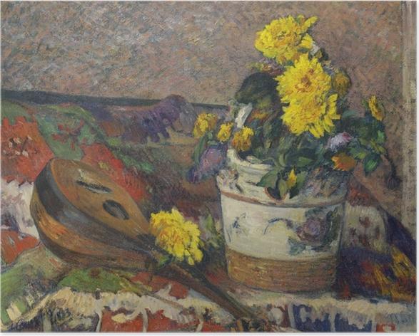 Póster Paul Gauguin - Todavía vida con una mandolina - Reproducciones