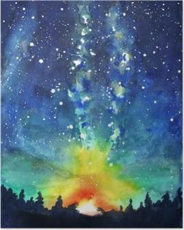 Poster Paysage. Forêt, ciel nocturne, étoiles, l'espace. douleur à la main d'aquarelle