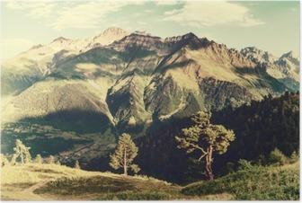 Poster Paysage vintage avec des arbres et des montagnes